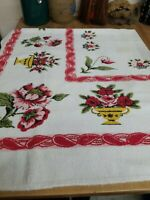 Vintage Large Rose's & Pots BATH TOWEL few spots