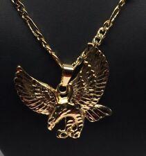 "Gold Plated Eagle Pendant Necklace 26"" Aguila Medalla Grande Cadena Oro Laminado"