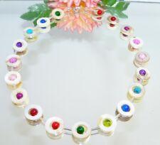 Kette  PERLMUTT natur  weiss Donut Perlen mehrfarbig bunt multicolor  353n