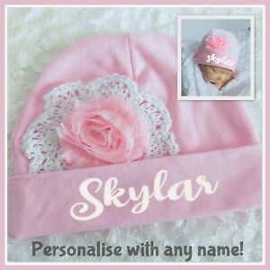Baby Beanie Personalised Name Pink Girl Newborn - 12 months Hat Winter Cotton