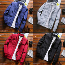 Autumn Men Bomber Jacket Casual Warm Solid Color Zipper Coat Baseball Outwear