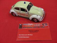 "VW Käfer ""Notarzt"" beige 13cm mit Rückzugmotor WELLY Modell Modellauto (WP023)"