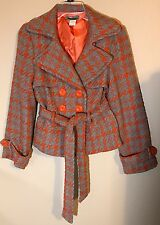 Hot & Delicious Womens/juniors small Lined Coat/Jacket Gray/Orange Houndstooth