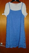 M&S 2 Piece Lace Dress & Top Outfit 10-11yr 146cm Mid Blue Mix BNWT