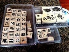 Lot of 43 Stampin' Up Wooden Rubber Stamps 3 complete sets + 3 Odd FREE SHIPPING