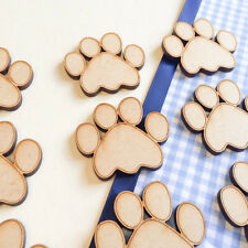 30x Wooden SMALL PAWS DOG CAT Embellishment Room Child Decoration Shape