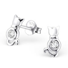 925 Sterling Silver Cat with Crystal Cubic Zirconia Stud Earrings (Design 2)