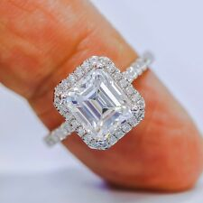 1.45 Ct Halo Emerald Cut Diamond Engagement Ring U-Set Round Accents E,VS2 GIA