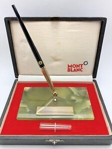 Vintage Montblanc No.4842-G Desk Fountain Pen Set with Green Brazilian Onyx Base