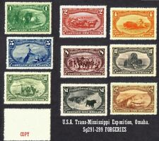 U.S.A. 1898 Trans-Mississippi Exposition Set of 9 (Sg291 to 299). forgeries