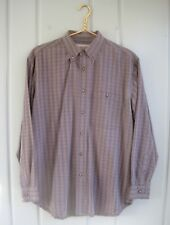 Fieldmaster Mens Size Medium Blue Brown Plaid Button Front Shirt Top Career Work