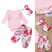AU Newborn Baby Girl Long Sleeve Tops Romper Pants Headband Outfits Clothes Set