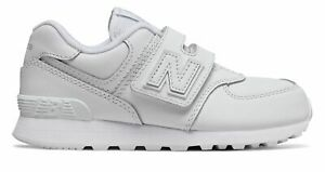 New Balance Kid's 574 Hook and Loop Little Kids Male Shoes White