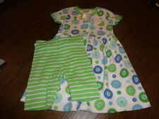 NWT NEW HANNA ANDERSSON 110 GREN BLUE FLORAL DRESS STRIPED SHORT SET