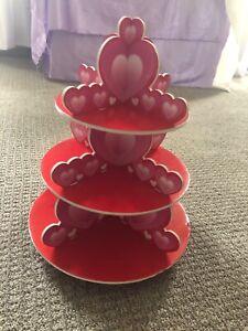 Valentine's Day Heart Cupcake Display Stand Three Level Tiered Treat Pink Cake