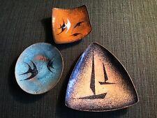 3x MID CENTURY Emaille Schälchen Fische u. Boote Tellerchen Vintage 50er 60er