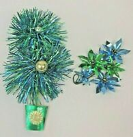 Vintage Christmas Package Decorations Tie On's Gift Wrap Foil Glass Blue Green
