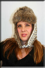New Beaded White Leather Trapper Aviator Hat Grey Rabbit Fur Trim