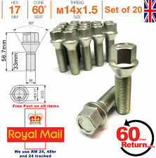 Car Alloy Wheel bolts M14x1.5 33mm extended Thread taper for VW Set of 20