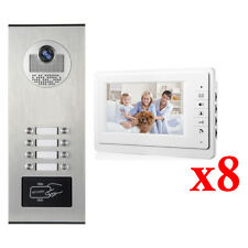 Apartment Wired Video Door Phone RFID HID Audio Visual Intercom System 8 Units