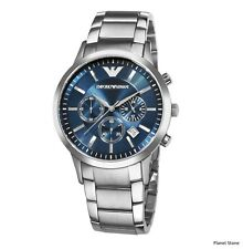 Emporio Armani AR2448 Stainless Steel Chronograph Blue Dial Mens Stunning Watch