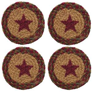 "Coaster Set of 4 - Cinnamon Star Braided Jute - 4.5"" Round - Burgundy Tan Green"