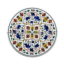 Round Coffee Table Marble Center Table Top Floral Semi Precious Stones Inlay Top