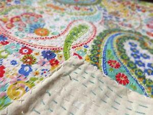 Indian Handmade Kantha Quilt Paisley Print Twin & Queen Block Printed Bedspread