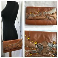 Chi by Carlos Falchi Leather Snakeskin Removable Strap Shoulder Clutch Bag Artsy