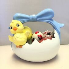 Vintage Ceramic Easter Basket with Chick and Eight Ceramic Decorated Eggs