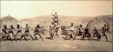 Zulu Warriors South Africa, Unusual 'Tug of War' 1903 Repro Photograph 12x6 inch