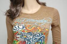 Nwt Ed Hardy Flaming Tiger Crew Neck Long Sleeve Top Tee Tunic T-Shirt ~Khaki *S