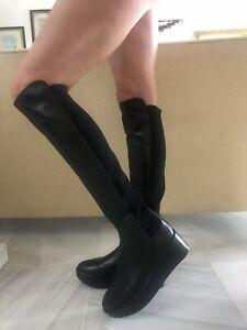 STUART WEITZMAN Black Elastic Wedge Knee Boots 41 UK 7,5 BNWT