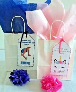 PERSONALISED CHILDRENS BIRTHDAY PARTY PAPER GIFT BAGS LOOT BAG & TISSUE
