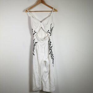 Sheike womens jumpsuit size 6 white sleeveless cut out rayon blend