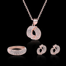 3PC Necklace Jewelry Set Round Shape Rose Gold Zircon Pendant Stud Earrings Ring