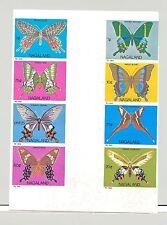 Nagaland (Propaganda) 1969 Butterflies 8v Imperf x 1v Cross Gutter Proof Block