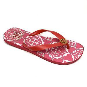 Tory Burch Thong Flip Flops Sandals Pink White Gold Logo PVC Rubber Sz 7.5 Women