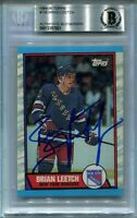 HOF BRIAN LEETCH signed autographed 1989-90 TOPPS ROOKIE CARD RC BECKETT (BAS)