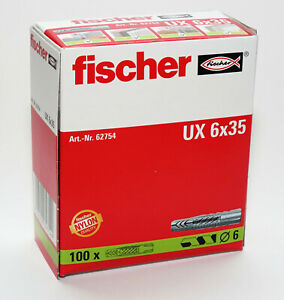 Fischer Wall Plugs UX6 Pack of 100   (6mm x 35mm)