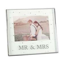 Amore Silver Plated Mr & Mrs 7 x 5 Box Wedding Photo Frame With Crystals WG64675