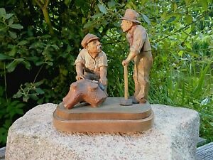Impresionante Figura de Madera Maciza Trabajador Forestal Talla Künstlerarbeit