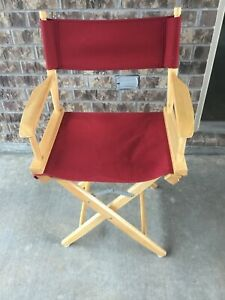 "35"" WOOD & RED CANVAS FOLDING DIRECTORS CHAIR SEAT"