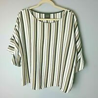 W5 Women's Top Size XL Ruffle Sleeves White Black Tan Stripes Casual Work Career