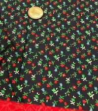 """Itty Bitty Posies Blue Red Green White on Navy -100% Cotton Remnant 22"""" x 8 1/2"""""""