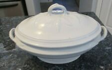 Antique White Ironstone Tureen w Lid - Acorn Leaf pattern