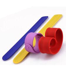 1X Silicone Flexible Slap Wrap Wristband Bracelet Kid Boys Girls Gift Random