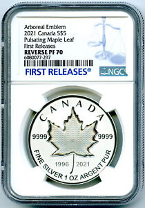 2021 $5 1 OZ CANADA SILVER PULSATING MAPLE LEAF NGC PF70 REV PROOF MINTAGE 3K