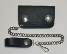 """Buffalo Nickel Black Leather Credit Card Kids Wallet With 12"""" Chain MADE IN USA"""