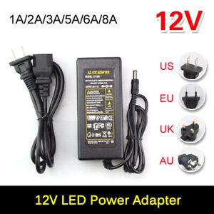 Power Supply Adapter AC DC12V 1A 2A 3A 5A 6A US EU UK AU Plug LED Strip light